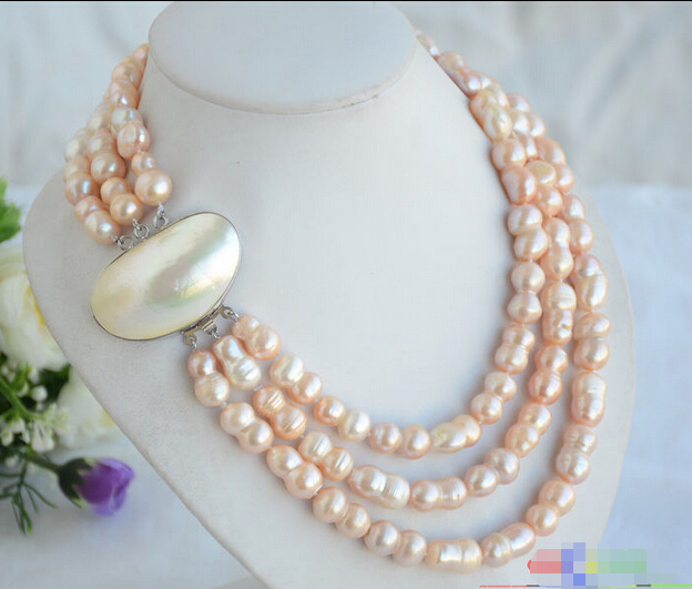 """HOT## Wholesale FREE SHIPPING >>> P4864 3row 20"""" 19mm pink double freshwater pearl necklace"""