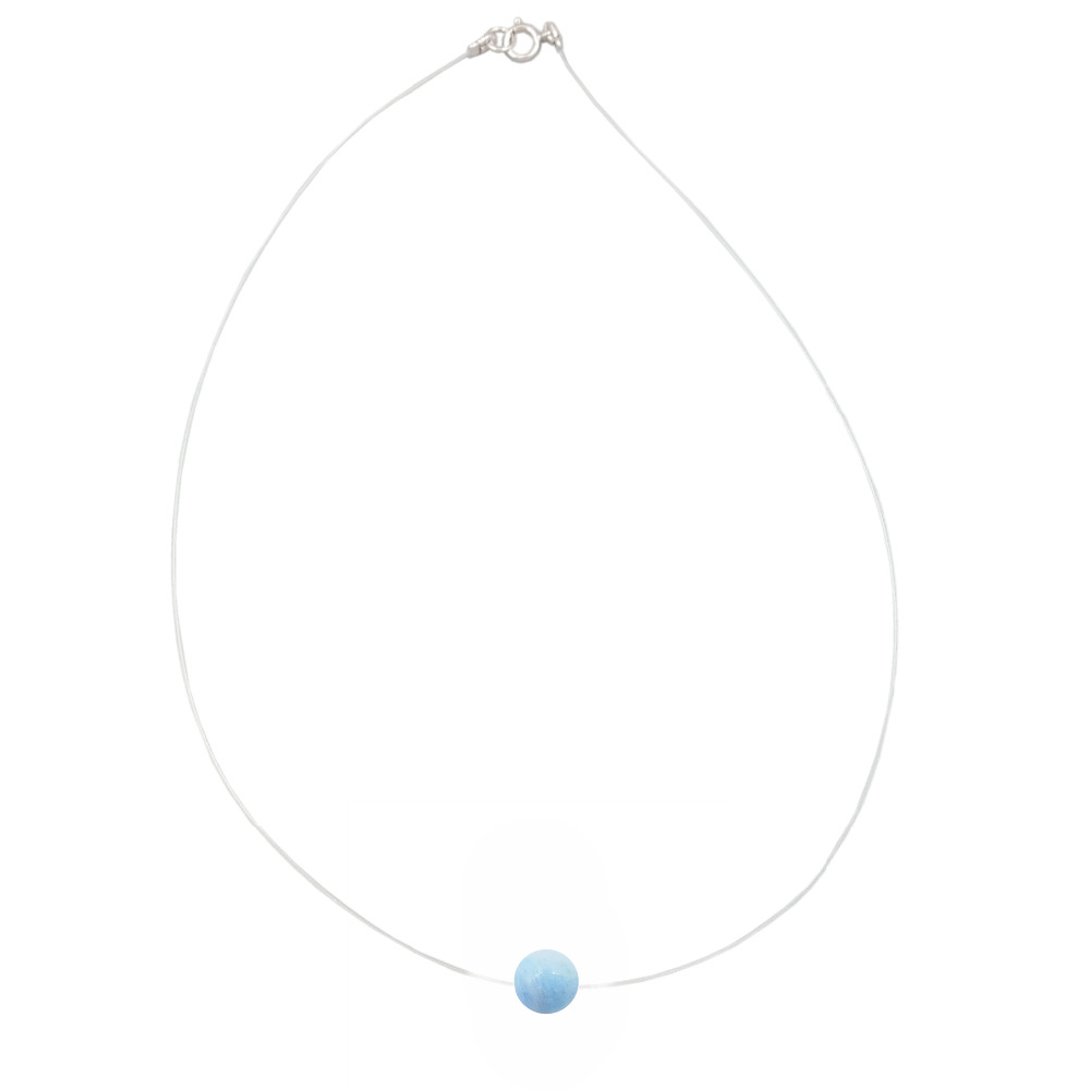 LiiJi Unique Natural Stone Aquamarines Approx 7-8mm 925 sterling silver Choker Invisible Necklace