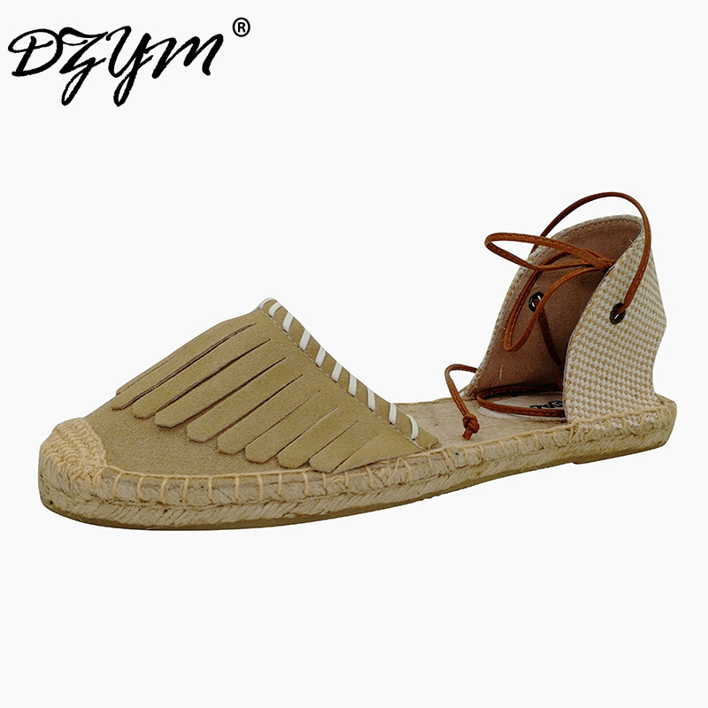 DZYM 2018 New Cow Suede Tassels Women Flats Loafers Canvas Espadrille Linen Hemp Sewing Zapatos Mujer Fringe Fisherman Shoes
