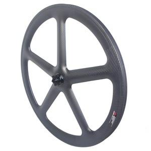Image 4 - 5 raios de estrada carbono rodado freio a disco clincher rodas tubulares 700c centerlock 6 parafusos bloqueio