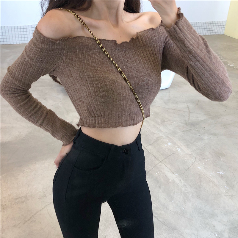 Fashion Sexy Off Shoulder Sweater Women Long Sleeve Spring Fashion Elegant And Lovely Classic Trend Femme Black 2019 Explosion