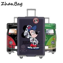 Zagęszczony High Elastic bagażu okładka Protector pyłoszczelna walizka osłony ochronne Akcesoria podróżne dla 18 do 32 tanie tanio Elastyczna tkanina Z-48 35cm Odbitki zwierzęce 80cm 400g Stretch poliester + spandex Pokrowiec na bagaż 55cm W QEHIIE