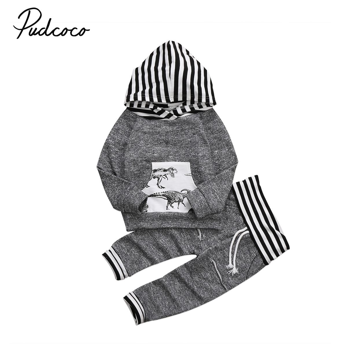 все цены на Pudcoco Cotton Newborn Kid Baby Boy Dinosaur Print Clothes Set Long Sleeve Striped Hoodies Tops Coat Long Pants Outfits