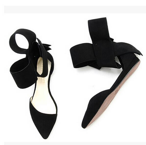 ФОТО Big Size 13 Cheap Price Black Suede Leather Big Bowtie Flat Dress Shoes Pointed Toe Ankle Strap Flats Fashion Shoes Women