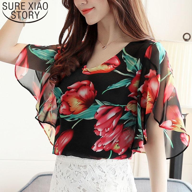 Women Tops And Blouses 2019 Summer Color Striped Print Chiffon Tops Elegant Petal Sleeve Shirt Plus Size Floral Blusas 0431 30