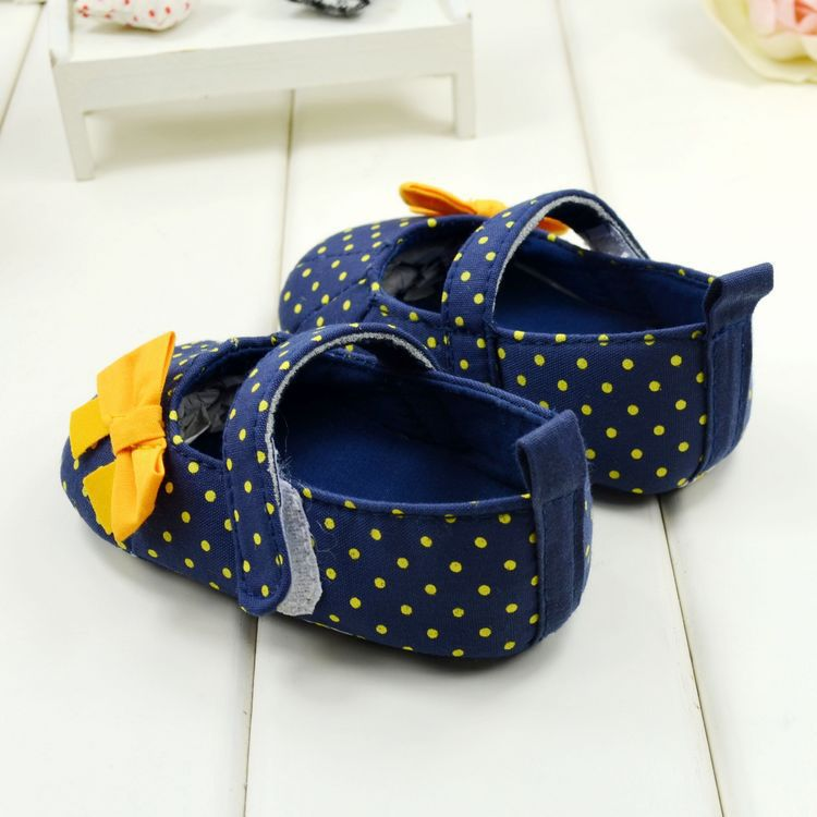Cute Spring Autumn Baby Shoes Sweet Dot Butterfly Bow Antiskid Toddlers Shoes Girls First Walkers