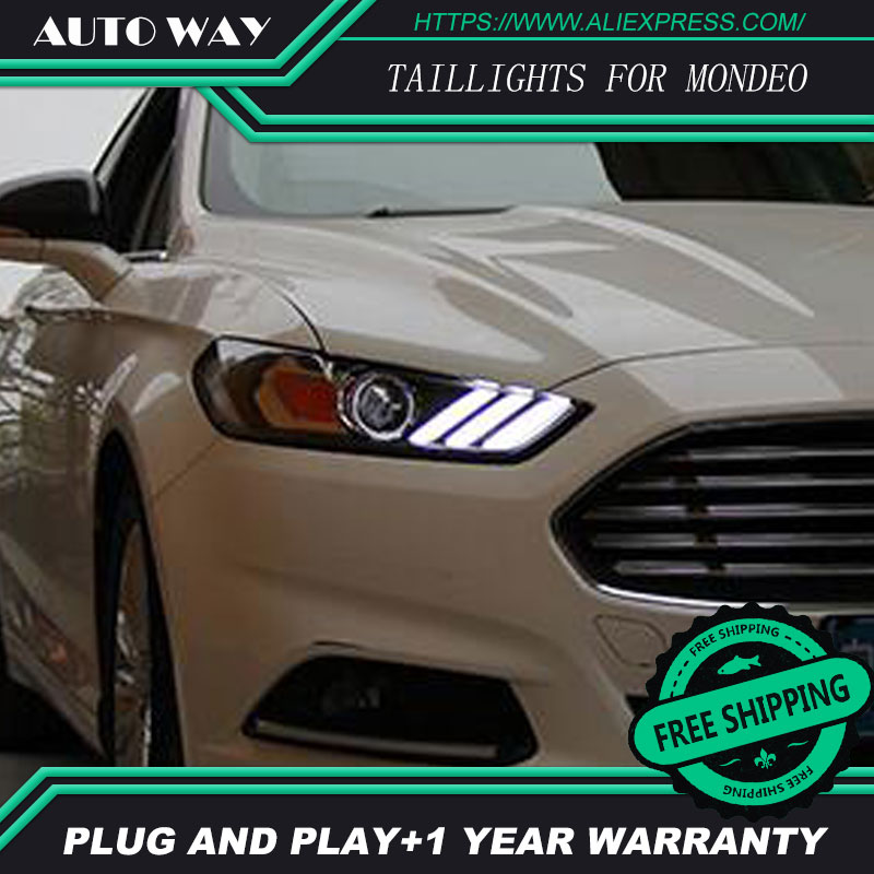 Free shipping ! Car styling LED HID Rio LED headlights Head Lamp case for Ford Mondeo 2013-2015 Bi-Xenon Lens low beam