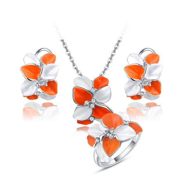 Fashion New Arrival Flower Sets Genuine Austrian Crystal Delicate Rose Gold Plated Jewelry Set Wedding Gift