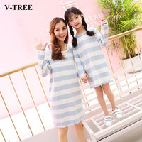 V TREE Mother Daughter Dresses Casual Matching Mother Daughter Clothes Nightgown Mommy And Me Clothes Girls