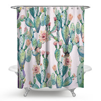 Polyester Shower Curtain 3D Printed Tropical Chower Curtain Cactus Bath Scenery Waterproof Bathroom Curtain Bath Screens Cortina