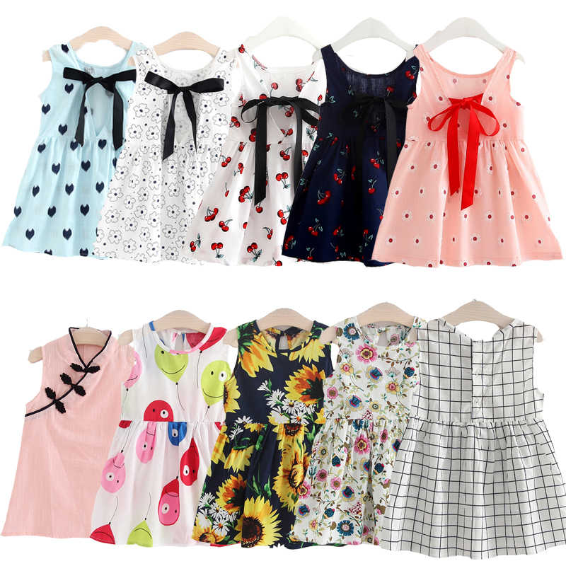 2 3 4 5 6 7 8 Years Old Girls Dresses Summer Kids Elegant Princess Dress Sleeveless Vacation Sweet Sundress Children's Clothes
