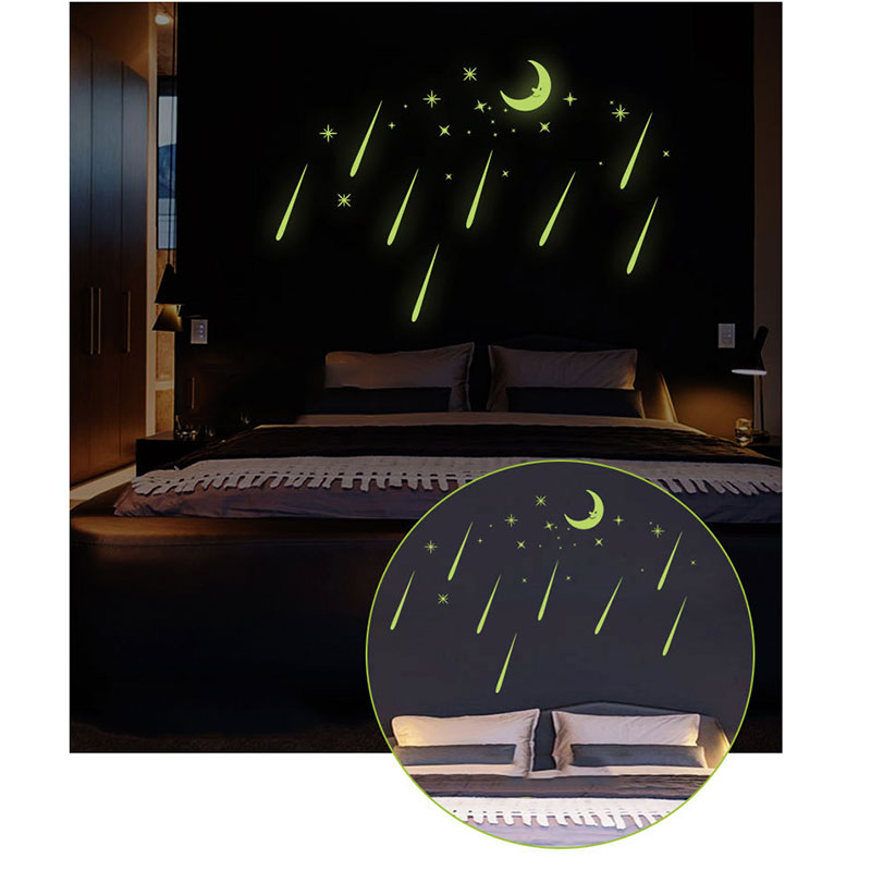 Meteor Shower Wall Stickers Sky Star Moon Wall Decals Luminous Stickers Fluorescence Kids Room Bedroom Nursery TB Sale