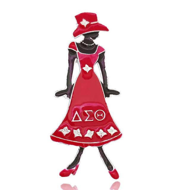 Topvesko Diva Lady In Red Dress Dst Pin Delta Sigma Theta Greek Sister
