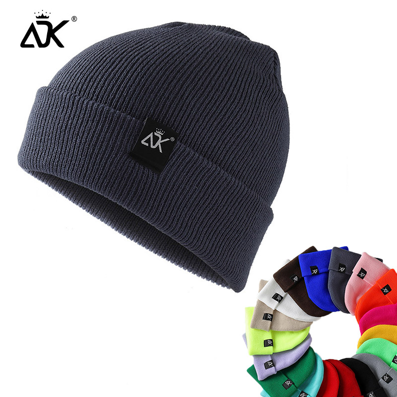 ADK Cap Woman Hats Beanies Knitted Warm Winter Breathable Casual Simple Solid Unisex