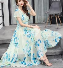 Free Shipping Bohemian Style S-5XL 2018 Summer New Arrival Collect Waist Flare Sleeve Flower Printed Woman Chiffon Long Dress