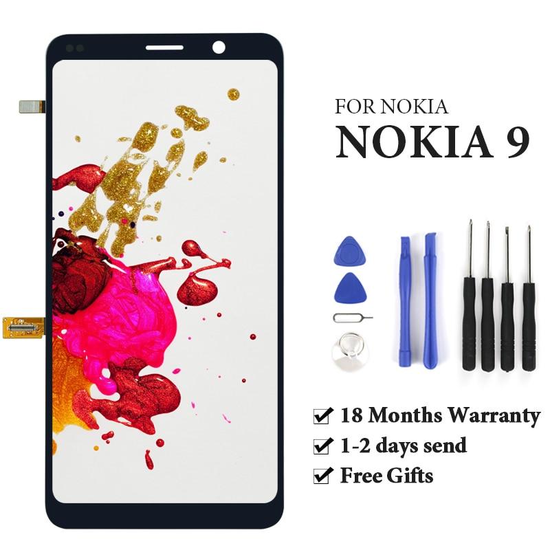 100% prueba sin píxeles muertos para Nokia 9 lcd pantalla 2018 versión para teléfono móvil lcd montaje de pantalla reemplazo de reparación negro