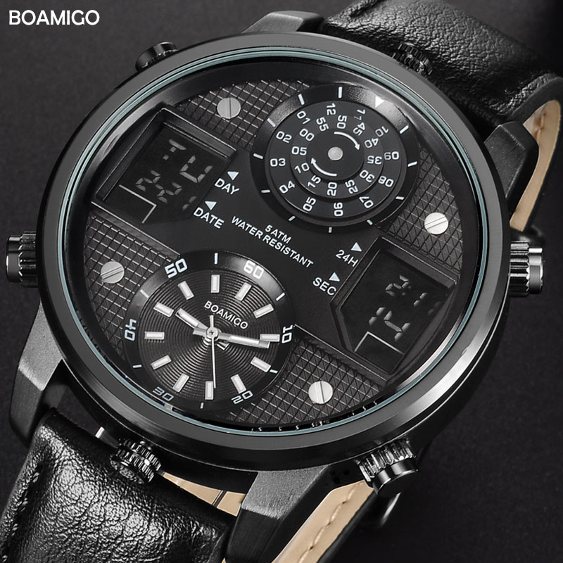 BOAMIGO Men Quartz Watches 3 Time Zone Creative LED Digital Sports Watches Male Leather Wristwatches Man Clock Relogio Masculino
