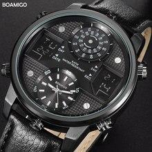 BOAMIGO Men Quartz Watches 3 time zone creative LED Digital Sports Watches Male Leather wristwatches man Clock Relogio Masculino
