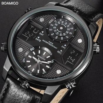 BOAMIGO, relojes de cuarzo para hombre, relojes deportivos digitales LED creativos de 3 zonas horarias, relojes de pulsera de cuero para hombre, reloj Masculino