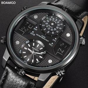 Image 1 - Boamigo 남자 쿼츠 시계 3 시간대 크리 에이 티브 led 디지털 스포츠 시계 남성 가죽 손목 시계 남자 시계 relogio masculino