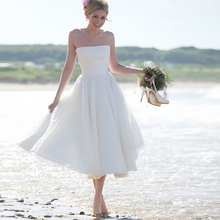 Bbonlinedress A-Line Tea Length Lace Beach Wedding Dresses 2020 Strapless Bridal Gowns Lace up Short Wedding Gowns