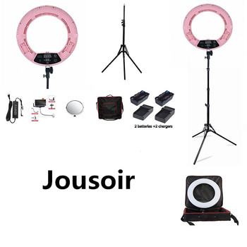Pink FD-480II LED Ring lamp Light Make up Lighting sefie ring lamp set + standing (2M)+ bag + batteries CD50