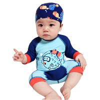 Long Sleeve Character Children S Swimwear One Piece Suit With Hat 2017 Summer Beach Boy Swimsuit