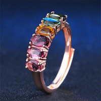 S925 Pure Silver Coloured Jewelry Natural Tourmaline Coloured Classic Ring S925 Gemstone Luxury Jewelry