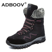 ADBOOV Outdoor Snow Boots Women Fur Lining Ankle Boots Cold Weather Winter Shoes Woman Suede High Top Trekking Shoes