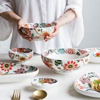 MDZF SWEETHOME Glaze Bowl Plate Rice Vegetable Soup Noodle Salad Bowl Sauce Serving Dish Tableware Set Kitchen Tools|Bowls|   -