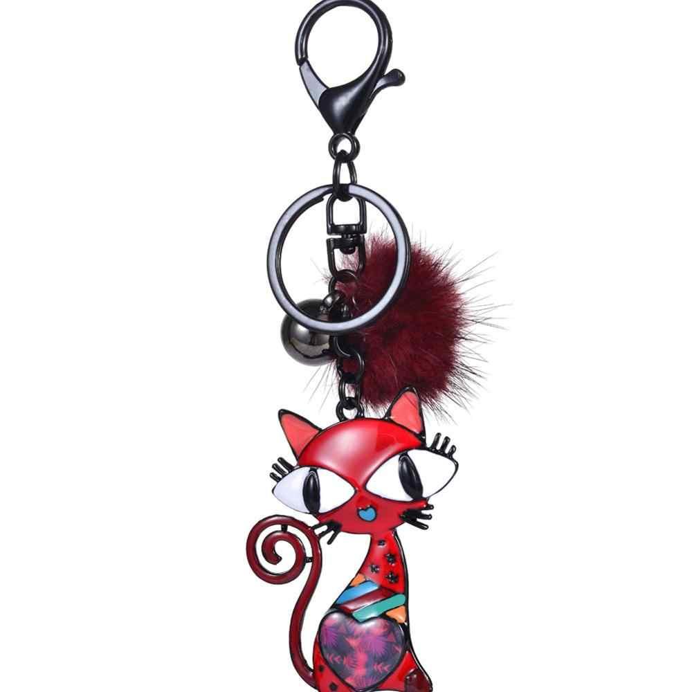 2019 Nova Moda Grande-eyed Cat Preto Chave Anel Keychain Populares Das Mulheres Dos Homens Pompom Crianças Na Moda do Metal Animais Chaveiros chaveiro