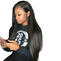 Straight 360 Lace Frontal Wigs For Black Women Pre Plucked 180 Density Honey Queen Peruvian Remy