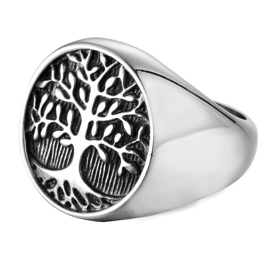 Classic Tree Pattern Mens Ring Titanium Steel Silver Rings For Men Gift Party Engagement Wedding Ring Jewellery