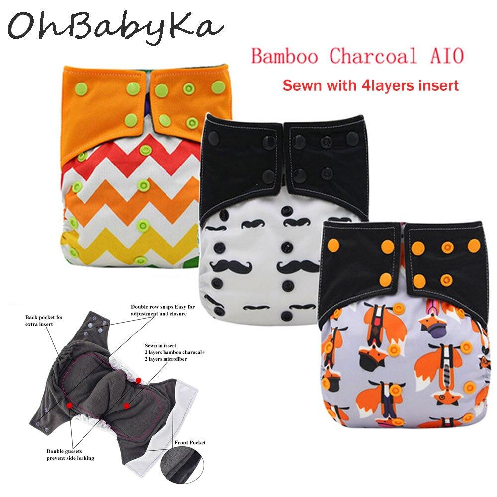 Ohbabyka todo-en-uno AIO pañal de tela para bebé ajustable de carbón de bambú tela de bolsillo cubierta de pañal con doble refuerzos