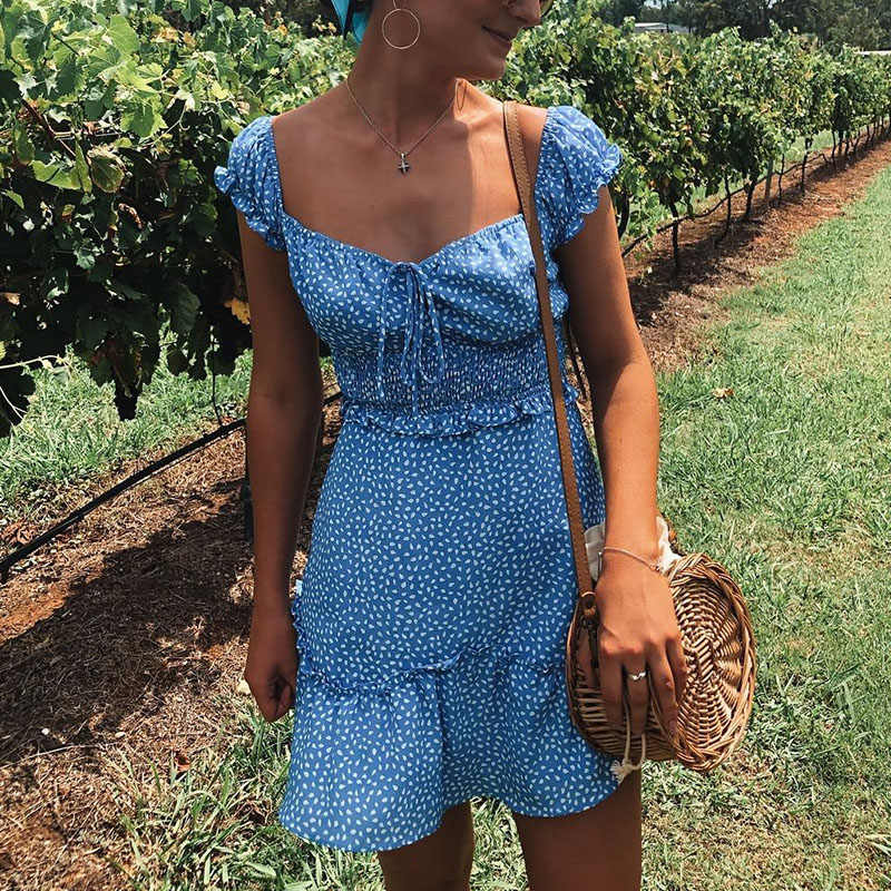 Conmoto Vintage Polka Dot High Waist Short Dress Women 2019 Summer New Casual Fashion Lace up Sexy Off Shoulder Girl Vestidos