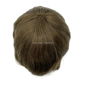 Image 5 - Pelucas para hombre de tupé, línea de pelo natural, encaje suizo completo, tamaño 8*10 pulgadas, sistema de cabello en stock, cabello humano remy