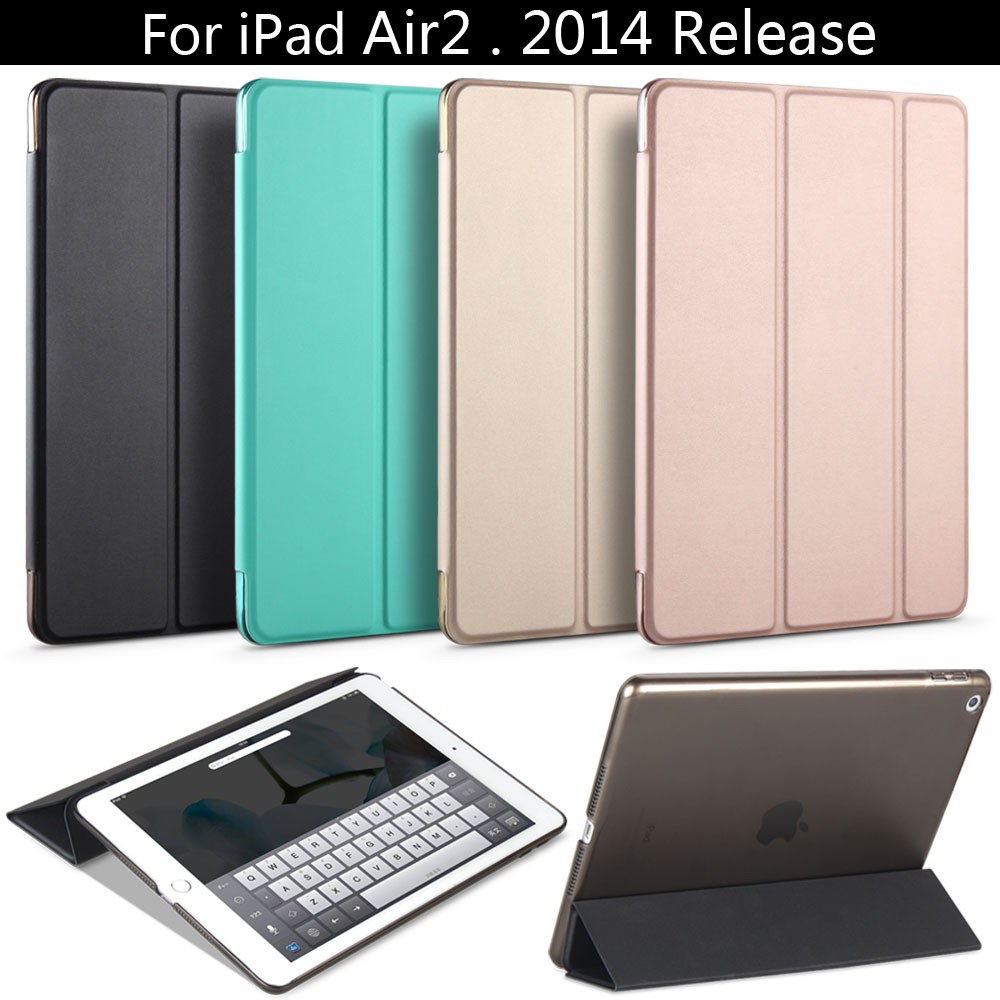 Für iPad Air 2 wacht der ZVRUA YiPPee Color PU Smart Cover Case Magnet auf