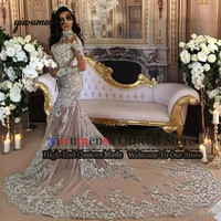 Elegant Formal Sliver Appliques Beading Evening Dress 2019 Custom Made Long Train Mermaid Muslim Evening Dresses Robe Soiree