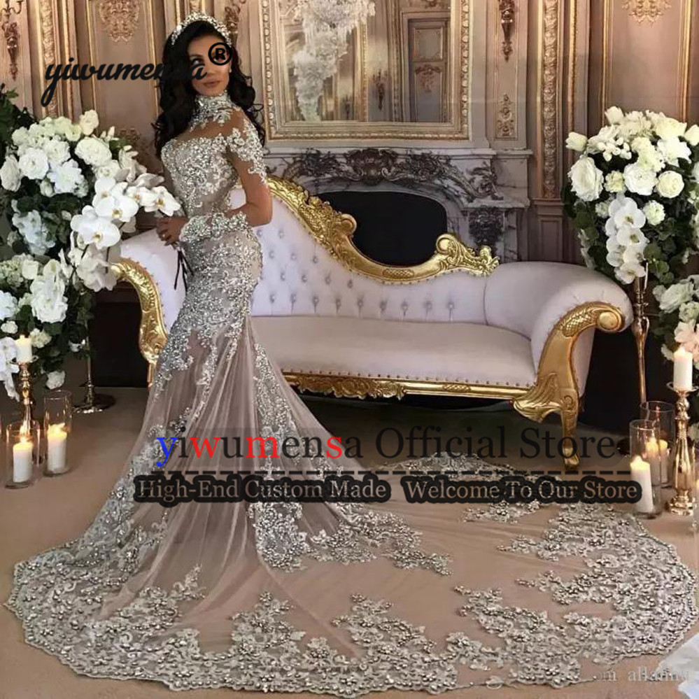 Elegant Formal Sliver Appliques Beading   Evening     Dress   2019 Custom Made Long Train Mermaid Muslim   Evening     Dresses   Robe Soiree