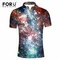 Forudesigns hombre camisa de polo de manga corta 2017 de la novedad 3d galaxy universo espacio de impresión camisa de polo para los hombres ropa slim fit Camisa
