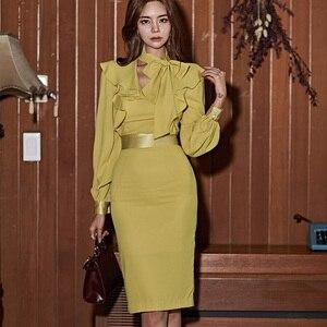 Image 2 - H Han Königin Laterne Hülse Rüschen Band Schärpen Kleid Frauen Herbst Koreanische Elegante Sexy Bleistift Kleider Bodycon Mantel Vestidos