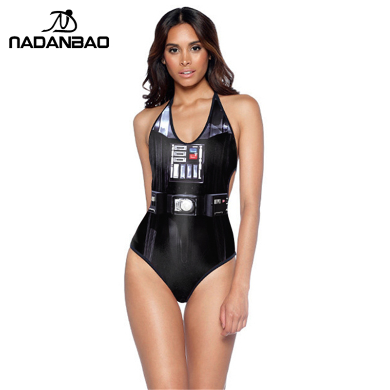 New Design One Piece Badedrakt Stil Star Wars Imperial Svart Badetøy Kvinner Monokini Halter Backless Badedrakt Y01007
