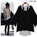 Newest Euro Fashion Loose Casual Short Sleeve T-Shirts Women's Batwing Sleeve Tops ( Tank + T shirt) two pieces set