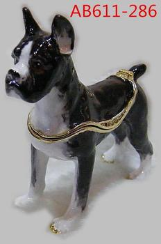 цена на PEWTER BEJEWELED HINGED TRINKET DOG JEWELRY BOX