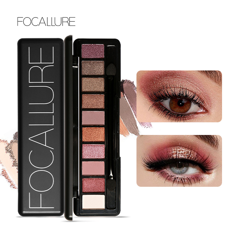 Focallure10 Colour Eye Shadow Eye Makeup Makeup Shimmer Matte Eyeshadow Earth Color Eyeshadow Palette آرایش زیبایی سایه چشم برهنه