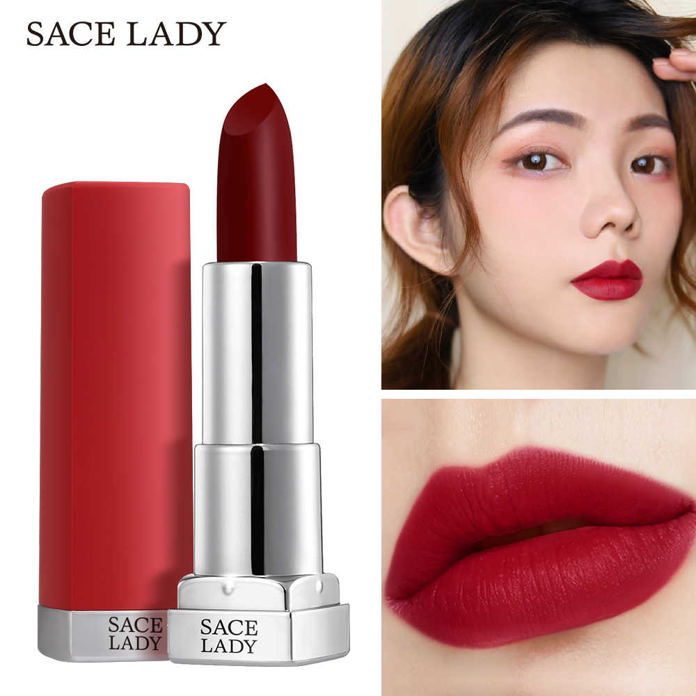 SACE ליידי משיי מט שפתון איפור עמיד למים 9 צבעים פיגמנט שפתיים מקל ארוך לטווח שפות איפור עירום יופי קוסמטיקה