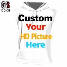 OGKB Customize Hooded Tank Top Men Customer Picture Custom Vest Cool 3d Print Your Own Design Singlet Clothes Summer Casual Tops