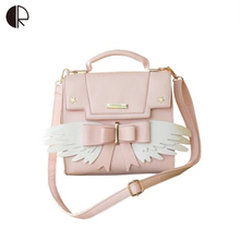 2019 New Girls Cute Pink Shoulder Bag Women Bow Wing Handbags Ladies Star Sequined Messenger For Party Japan Style
