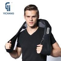 YiChang black electrical shiatsu massage neck massager heat and back massagers electric kneading body massages machine for car