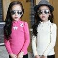 2016 осень детская одежда девушки свитера твердые лук девочка пуловеры свитера для девочек дети тощий стрейч свитер топы